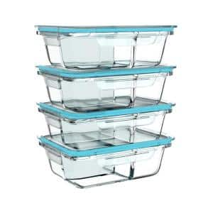 8-Piece Glass Food Storage Containers with Snap Shut Lids