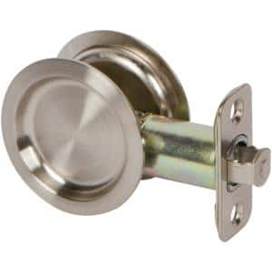 Onward 3 7 32 In Brushed Chrome Pocket Door Pull With Privacy Lock 1701bcpsbc The Home Depot