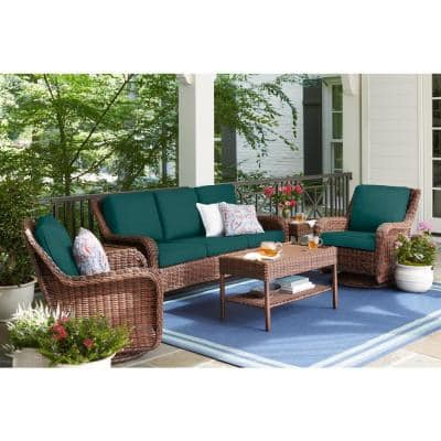 Cambridge Brown Wicker Outdoor Patio Sofa with CushionGuard Malachite Green Cushions