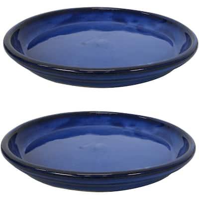 14.25 in. Imperial Blue Ceramic Planter Saucer (Set of 2)