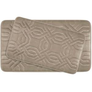 Chain Ring Linen Memory Foam 2-Piece Bath Mat Set