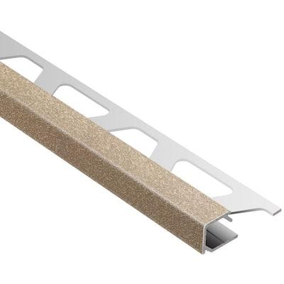 Quadec Beige Textured Color-Coated Aluminum 3/8 in. x 8 ft. 2-1/2 in. Metal Square Edge Tile Edging Trim