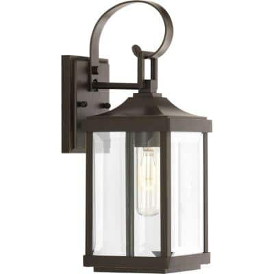 Gibbes Street Collection 1-Light Antique Bronze Clear Beveled Glass New Traditional Outdoor Small Wall Lantern Light
