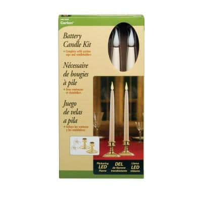 12 in. Ivory Wireless LED Candle with Brass Finish Base Amber Flame (2-Pack)