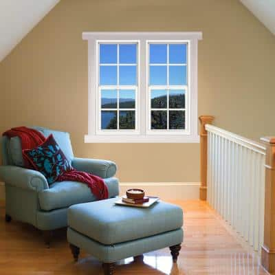 24 in. x 48 in. V-4500 Series White Single-Hung Vinyl Window with 4-Lite Colonial Grids/Grilles