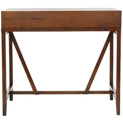 41 in. Rectangular Dark Teak 2 Drawer Secretary Desk with Built-In Storage