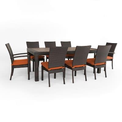Deco 9-Piece Wicker Outdoor Dining Set with Sunbrella Tikka Orange Cushions