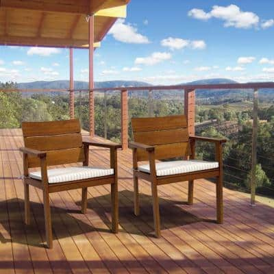 Nelson 2-Piece Eucalyptus Easy Carver Patio Chair Set with Stripped Cushions