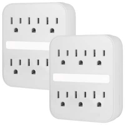 6-Outlet Grounded Surge Protector Wall Tap Adapter with Light Sensing Night Light, (2-Pack)