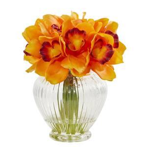 Indoor Cymbidium Orchid Artificial Arrangement in Glass Vase