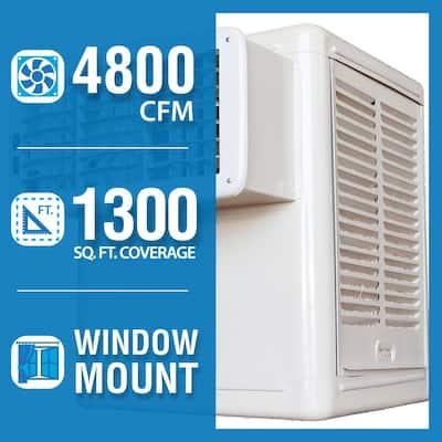 4,800 CFM 120-Volt 2-Speed Front Discharge Window Evaporative Cooler (Swamp Cooler) for 1,300 sq. ft. (with Motor)