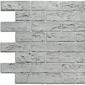 3D Falkirk Retro II 39 in. x 23 in. Grey Faux Bricks PVC Wall Panel