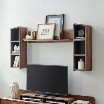 Omnistand Walnut Gray Wall Mounted Shelves