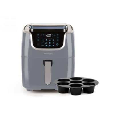 7 Qt. 10-in-1 1700W Slate Gray Air Fryer Steamer with Muffin Pan
