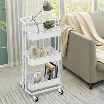 35 in. 3-Tier Metal Foldable Rolling Utility Cart in White