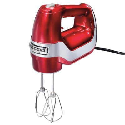 Professional 5-Speed Red Hand Mixer with Stainless Steel Attachments and Snap-On Storage Case