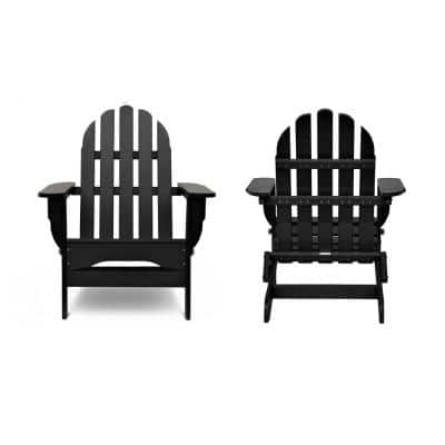 Icon Black Recycled Plastic Folding Adirondack Chair (2-Pack)