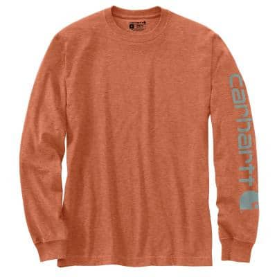 Men's X-Large Ginger Heather Cotton/Polyester TK0231 M Loose Fit Heavy Weight Long Sleeve Graphic T-Shirt