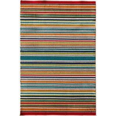 Patio Brights Santee Multi-Colored 7 ft. x 10 ft. Striped Indoor/Outdoor Area Rug