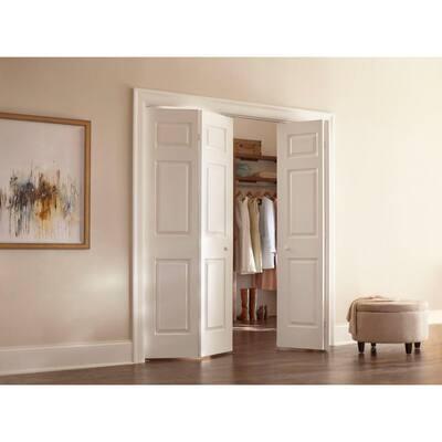 36 in. x 80 in. Colonist Primed Textured Molded Composite MDF Closet Bi-Fold Door