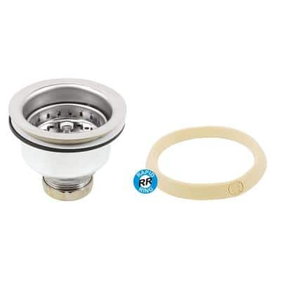 Basket Strainer Stainless Steel Spring Lock Post 3-1/2 in. to 4 in. Chrome with Putty