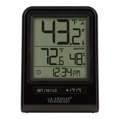 Black Wireless Temperature and Humidity Station with Time