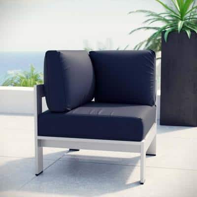 Shore Patio Aluminum Corner Outdoor Sectional Chair in Silver with Navy Cushions