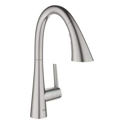 LadyLux L2 Single-Handle Bar Faucet with Pull-Out Sprayer in Super Steel