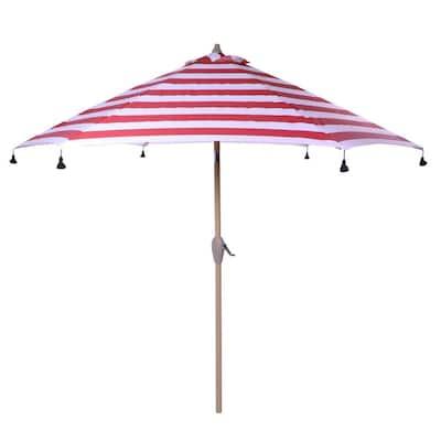 9 ft. Aluminum Drape Patio Umbrella with Tassels in Red Cabana Stripe