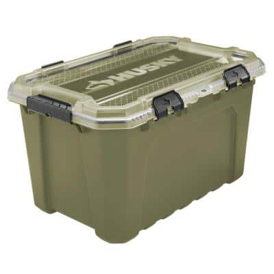 20-Gal. Professional Duty Waterproof Storage Container with Hinged Lid in Olive