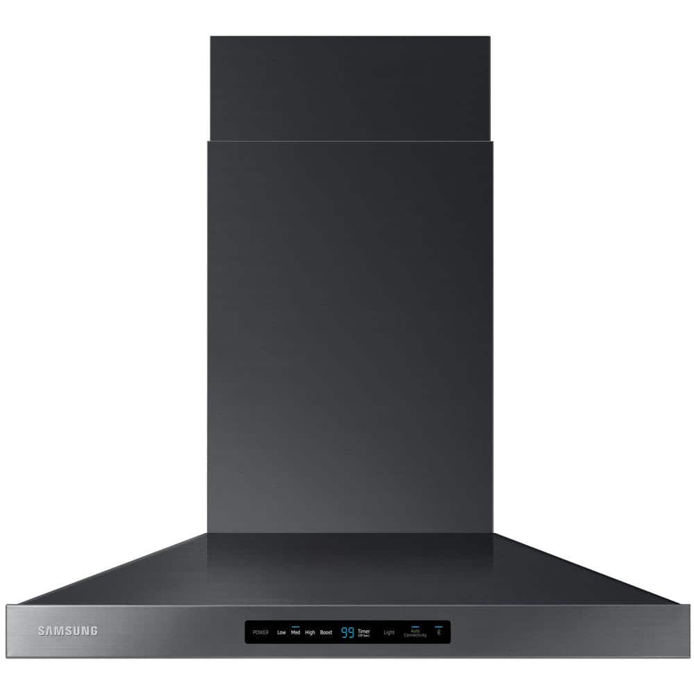 Samsung 30 In Wall Mount Range Hood Touch Controls Bluetooth Connected Led Lighting In Fingerprint Resistant Black Stainless Nk30k7000wg The Home Depot