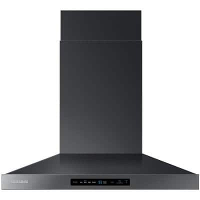 30 in. Wall Mount Range Hood Touch Controls, Bluetooth Connected, LED Lighting in Fingerprint Resistant Black Stainless