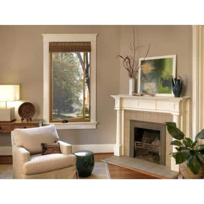 30.75 in. x 40.75 in. W-2500 Series White Painted Clad Wood Left-Handed Casement Window with BetterVue Mesh Screen