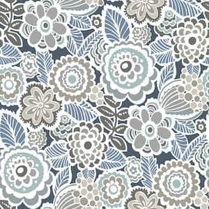 Dream On Navy Blue Wallpaper Sample