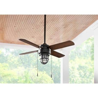 Cedar Lake 44 in. Indoor/Outdoor LED Matte Black Damp Rated Downrod Ceiling Fan with Light Kit and 4 Reversible Blades