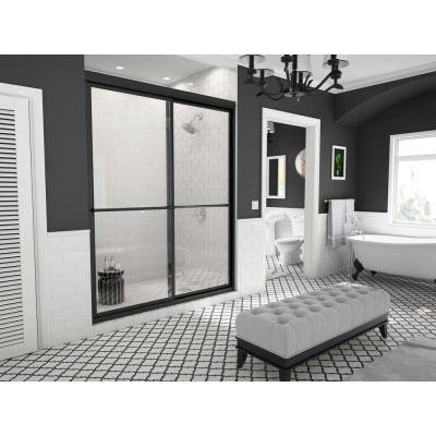 Newport 58 in. to 59.625 in. x 70 in. Framed Sliding Shower Door with Towel Bar in Matte Black and Clear Glass