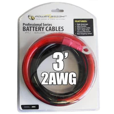 2 AWG Gauge 2000-Watt - 2500-Watt 3 ft. Professional Series Inverter Cables