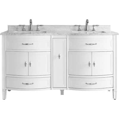 Dacosti 60 in. W x 22 in. D Vanity in White with Marble Vanity Top in White with White Sink