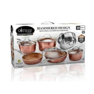 Hammered Copper 10-Piece Aluminum Non-Stick Cookware Set with Glass Lids