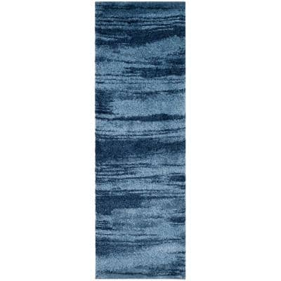 Retro Light Blue/Blue 2 ft. x 7 ft. Runner Rug