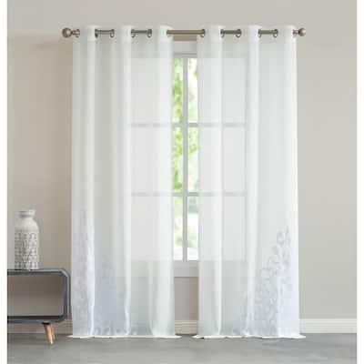 "Natalie 76"" x 84"" Velvet Applique Window Curtain in White"