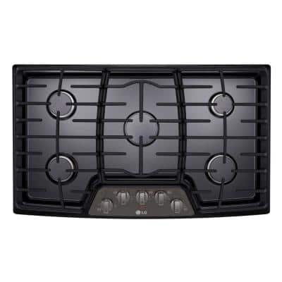 36 in. Recessed Gas Cooktop in Black Stainless Steel with 5 Burners including 17K SuperBoil Burner with Cast Iron Grate