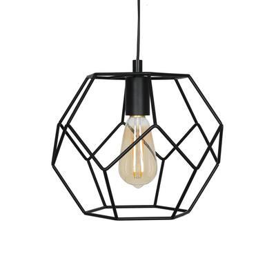 1-Light Matte Black Modern Swag Pendant and LED Bulb
