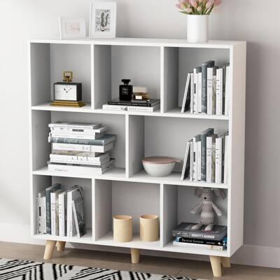 39.4 in. W x 42.1 in. H White Wooden 8 -Shelf Freestanding Standard Bookcase Display Bookshelf