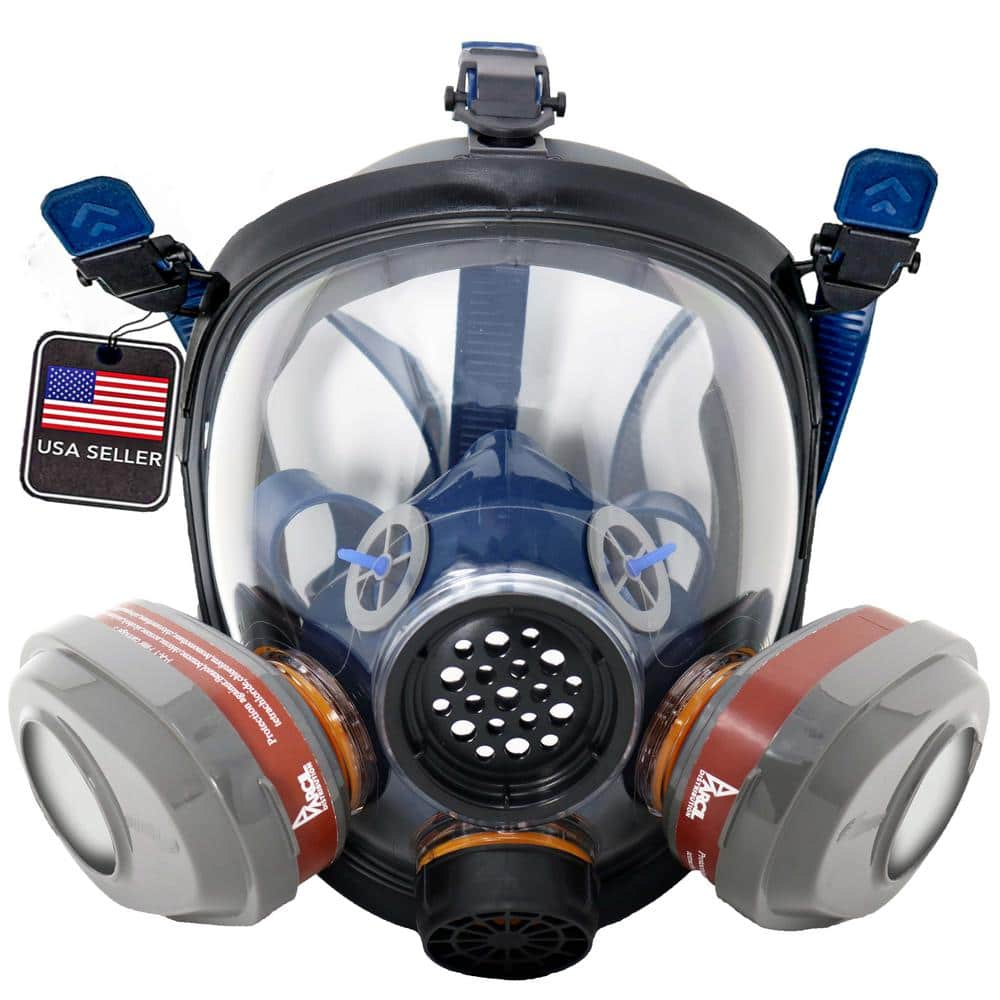 Parcil Safety Full Face Organic Vapor Respirator and Gas Mask with 2 Bayonet Style P-A-3 Replacement Filters