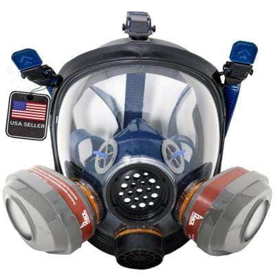Full Face Organic Vapor Respirator and Gas Mask with 2 Bayonet Style P-A-3 Replacement Filters