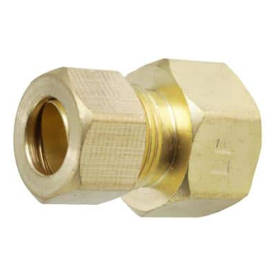 1/2 in. x 3/8 in. Female OD Compression Brass Reducing Coupling Fitting
