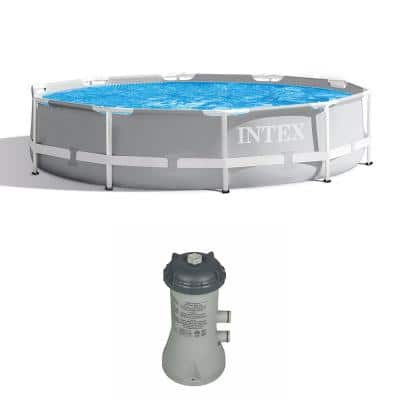 10 ft. Round 30 in. D Metal Frame Above Ground Swimming Pool with Cartridge Filter Pump System
