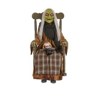 4 ft Animated LED Rocking Chair Babysitting Witch