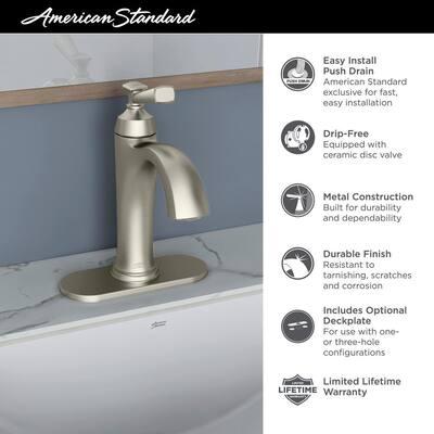 Rumson Single Hole Single-Handle Bathroom Faucet in Brushed Nickel